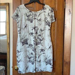 Ann Taylor Loft Linen Dress Vintage Birds/Flowers